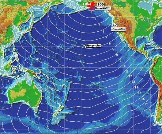 1964 prince williams sound tsunami. Tsunami travel time chart for